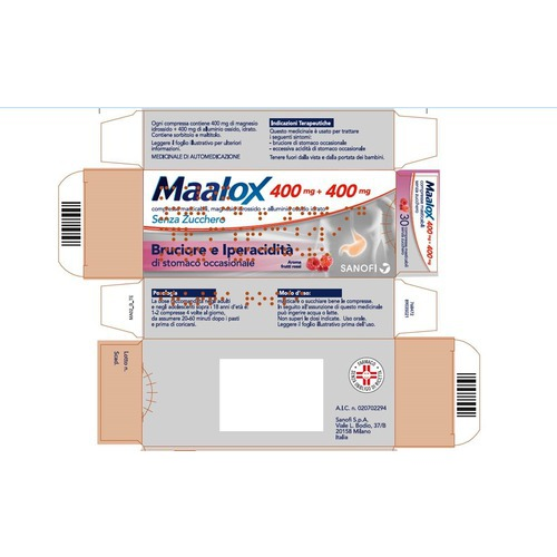 Maalox senza zucchero 400mg+400mg 30 compresse